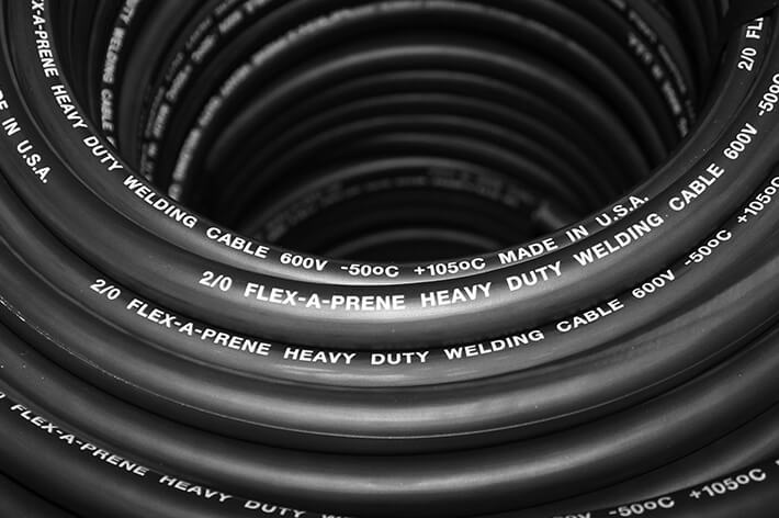 close up of Flex-A-Prene heavy duty welding cable